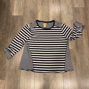 NWOT Ruby Rd. Black Striped 3/4 Sleeve Top